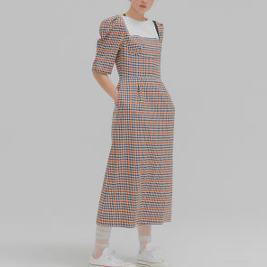 MARCIA Multi Color Check Puff Sleeve Long Dress
