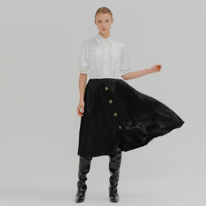잉크 마가렛 볼륨 슬리브 셔츠 드레스