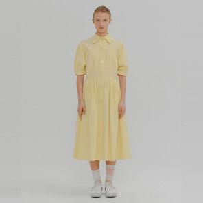 잉크 마가렛 옐로우 스트라이프 볼륨 슬리브 셔츠 드레스