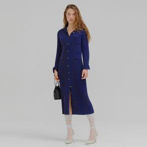 잉크 밍클링 세일러 카라 플리츠 니트 드레스 네이비