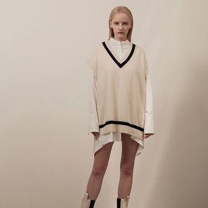 [서혜지,신예은,조윤희 착용] 무디디 Overfit v-neck knit vest 001 Ivory